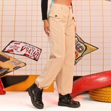 Flap Pocket Drawstring Cuff Cargo Pants