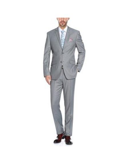 Verno Men's Grey Solid Pattern Slim Fit Two Piece Polyester Suit