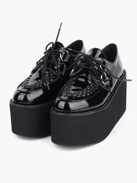 Milanoo Lovely Black Round Toe PU Leather Street Wear Platform Lolita Shoes