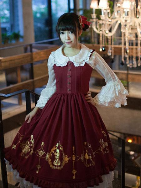 Milanoo Dulce de encaje impreso botones sinteticos Lolita Jumper falda