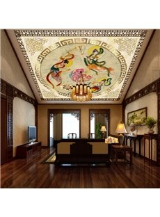 Peony and Ancient Chinese Maids Waterproof Durable and Eco-friendly 3D Ceiling Murals