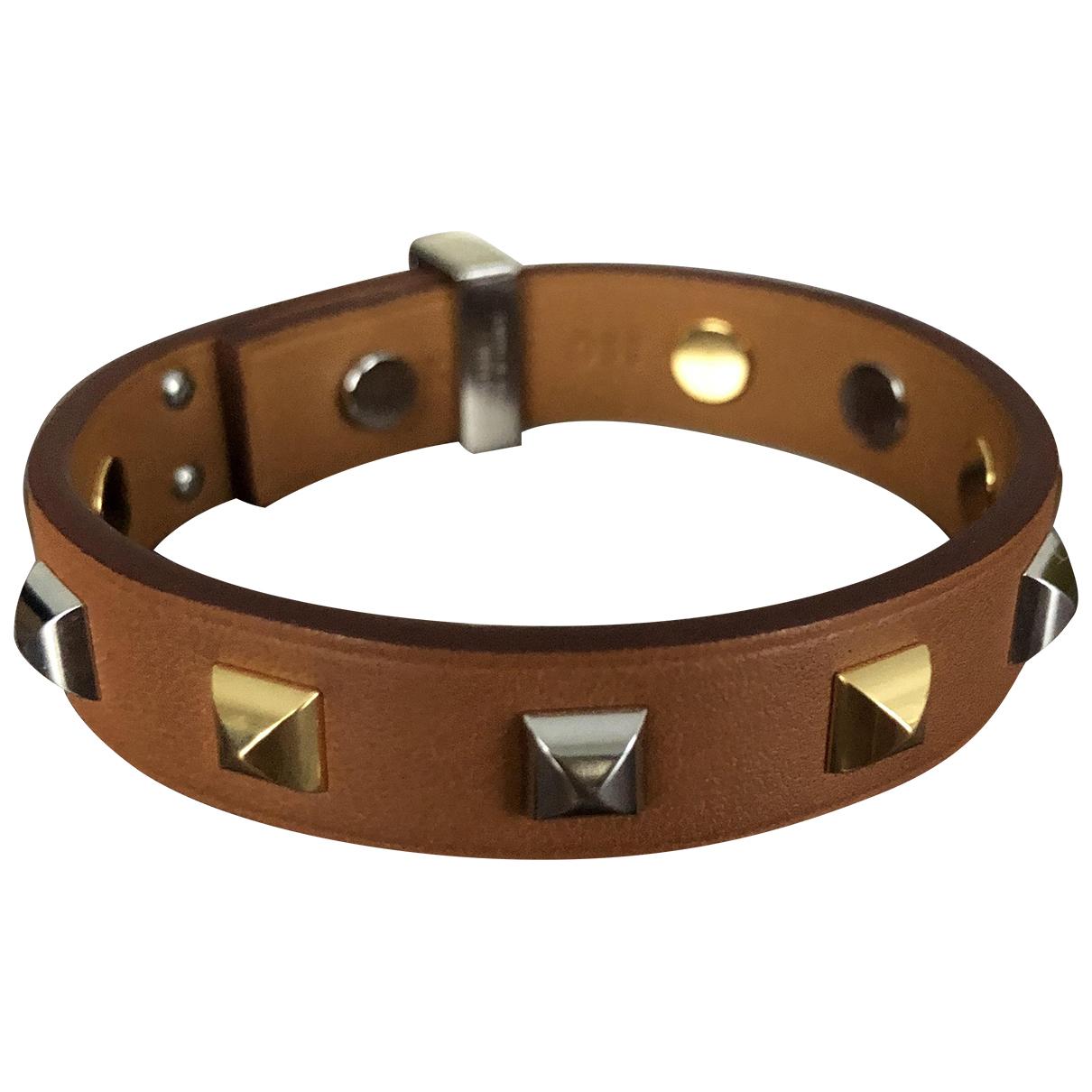 Hermes - Bracelet Mini Dog pour femme en cuir - camel