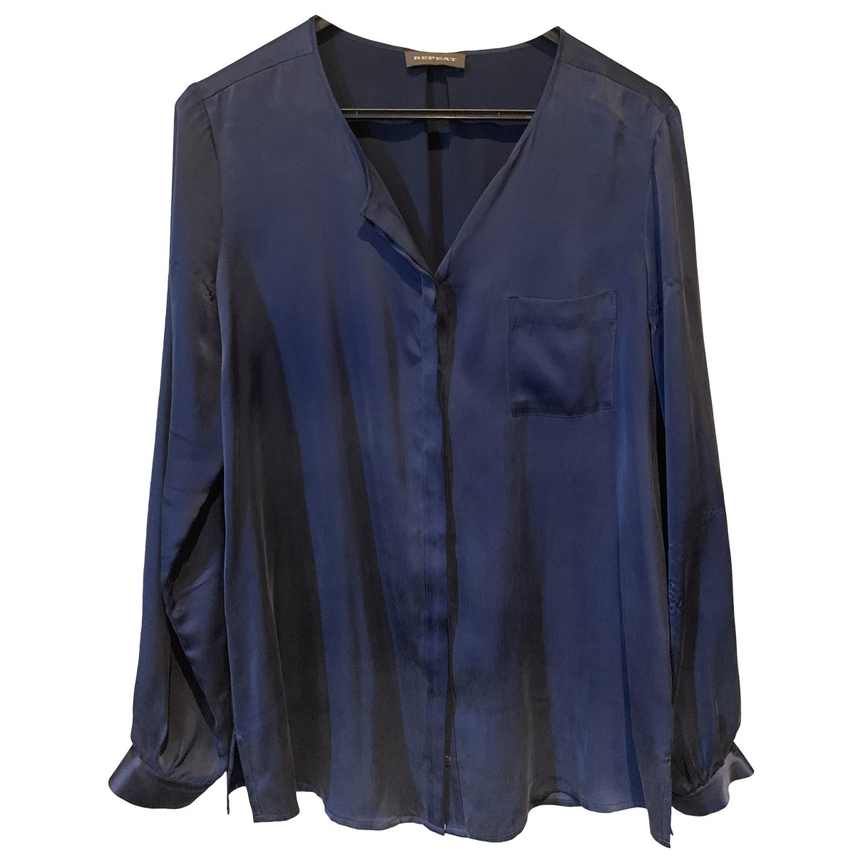 Non Signé / Unsigned \N Navy Silk  top for Women 38 FR