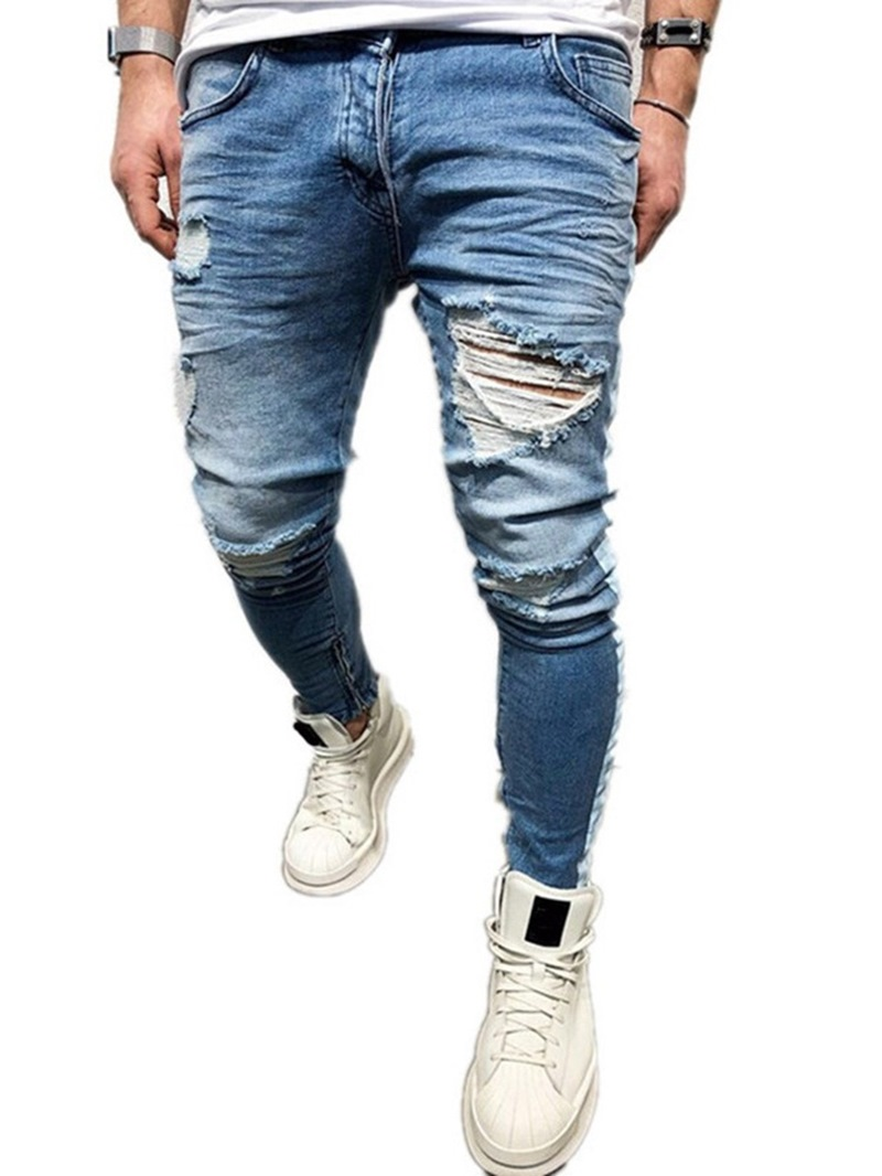 Ericdress Patchwork Pencil Pants Mid Waist European Jeans
