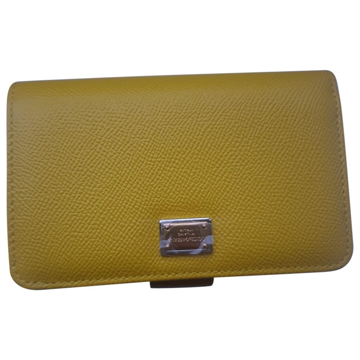 Dolce & Gabbana - Portefeuille   pour femme en cuir - jaune