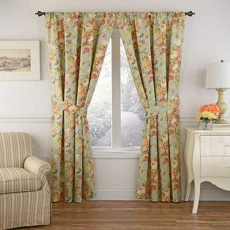 Waverly Spring Bling Light-Filtering Rod-Pocket Single Curtain Panel, One Size , Gray