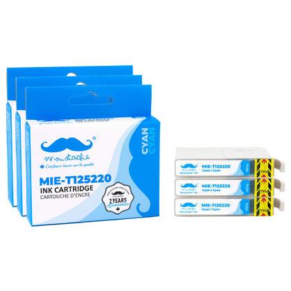 Compatible Epson T125220 Cyan Ink Cartridge - Moustache@- 3/Pack