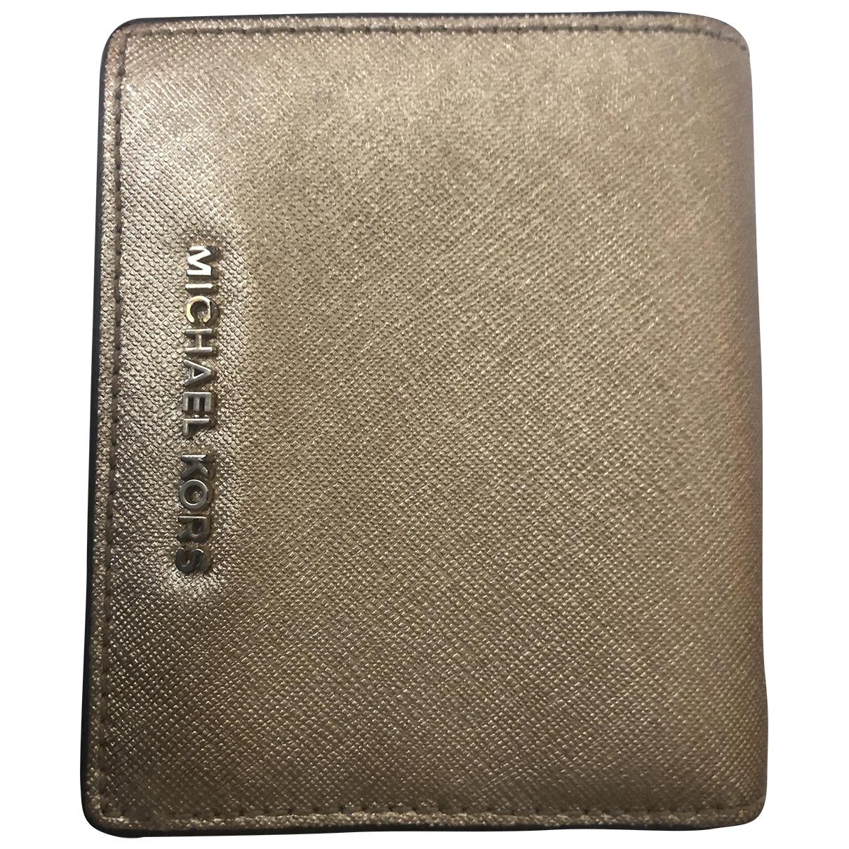Michael Kors - Portefeuille   pour femme en cuir - dore
