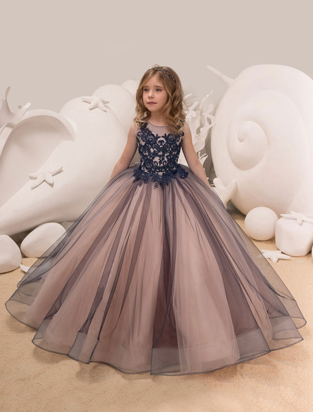 Milanoo Princesss Flower Girl Dresses Ball Gowns Lace Tulle Kids Pageant Party Dress