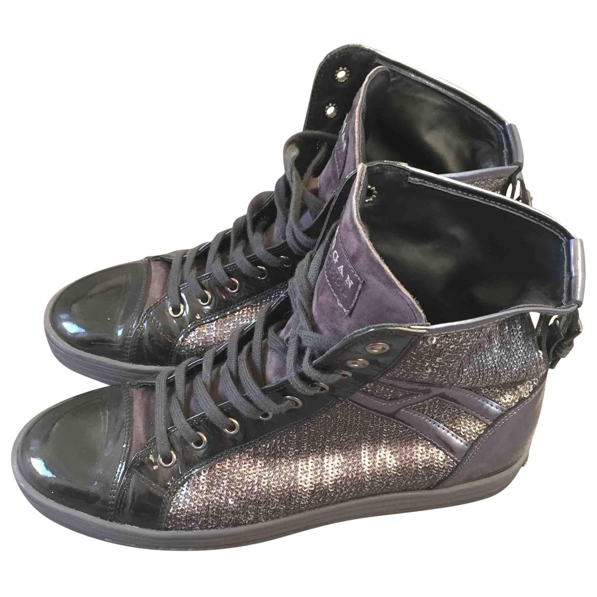 Hogan - Baskets   pour femme en cuir - anthracite