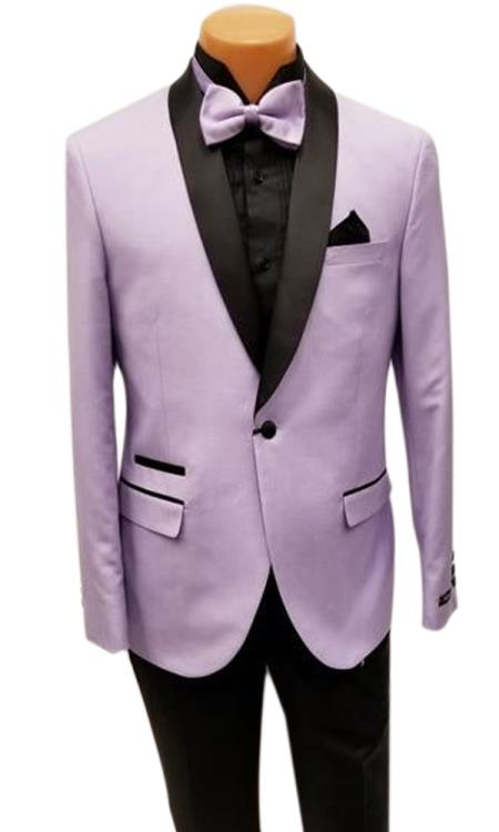 Mens One Button Shawl Lapel Lavender Prom Wedding Tuxedo