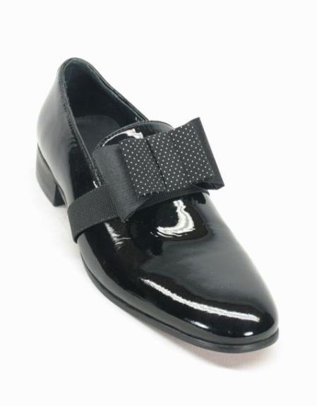 Men's Fashionable Black Patent Bow Lace Up Style Shoes