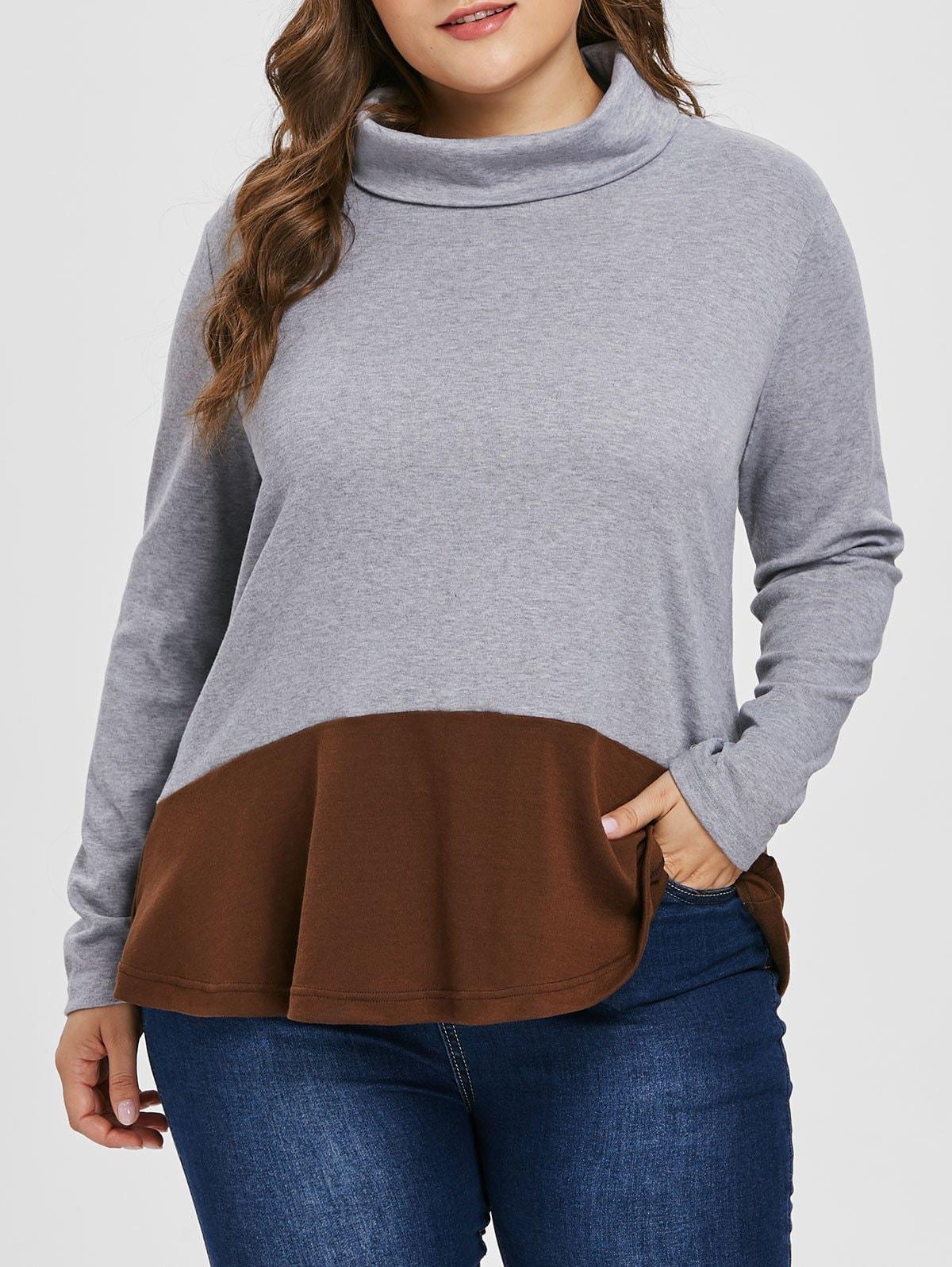 Turtleneck Plus Size Color Block Sweatshirt