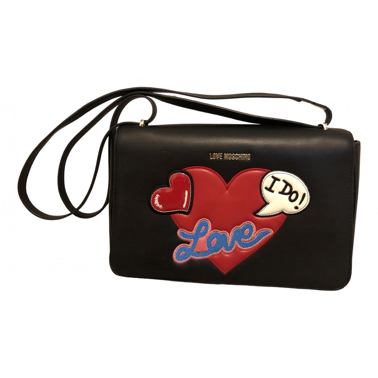 Moschino Love \N Clutch in  Schwarz Leder