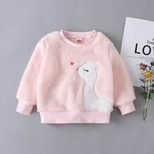 Baby Girl Cartoon Embroidery Flannel Sweatshirt