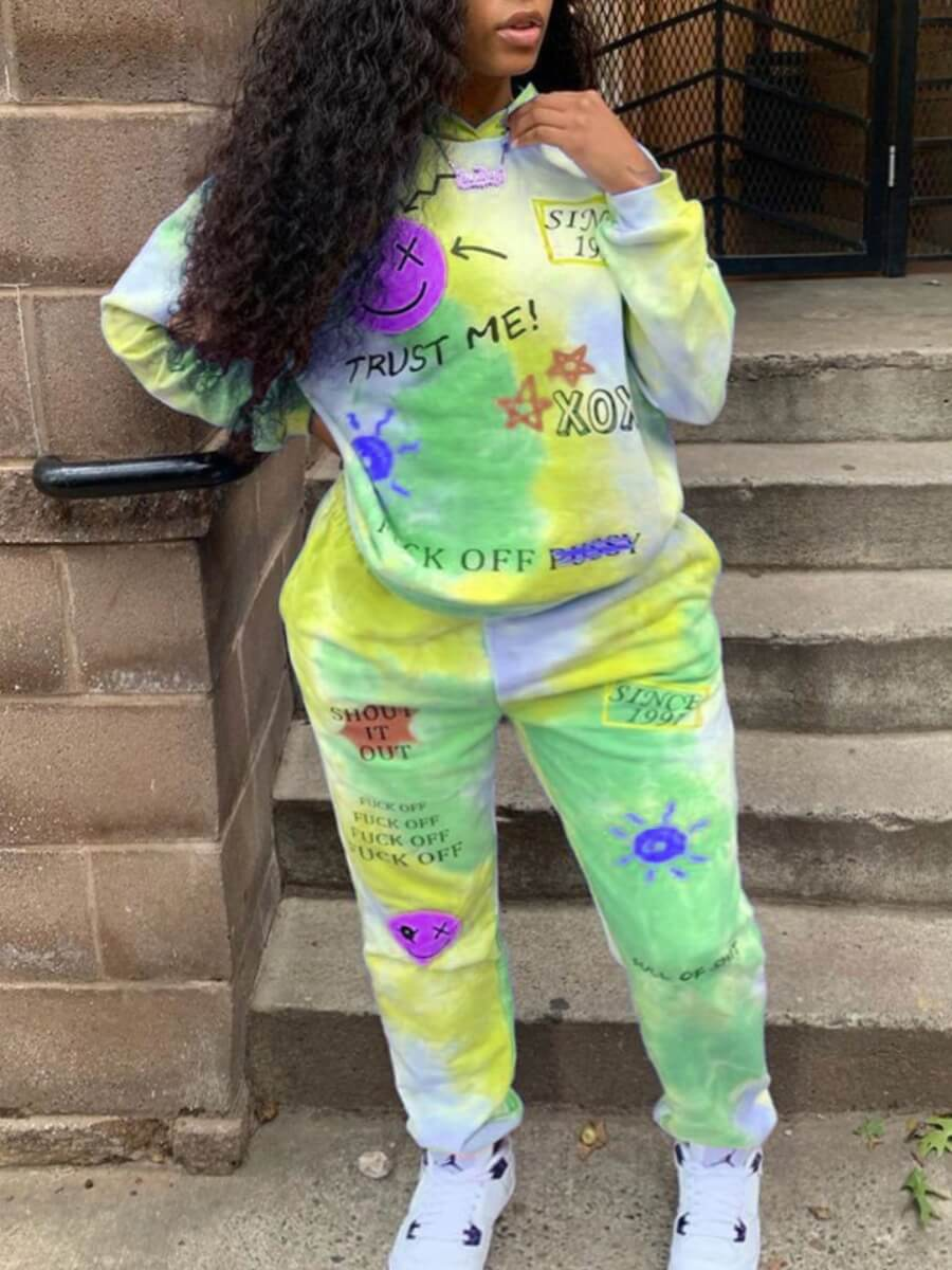 LW Lovely Street Hooded Collar Long Sleeve Tie Dye Letter Print Yellow Two Piece Pants Set