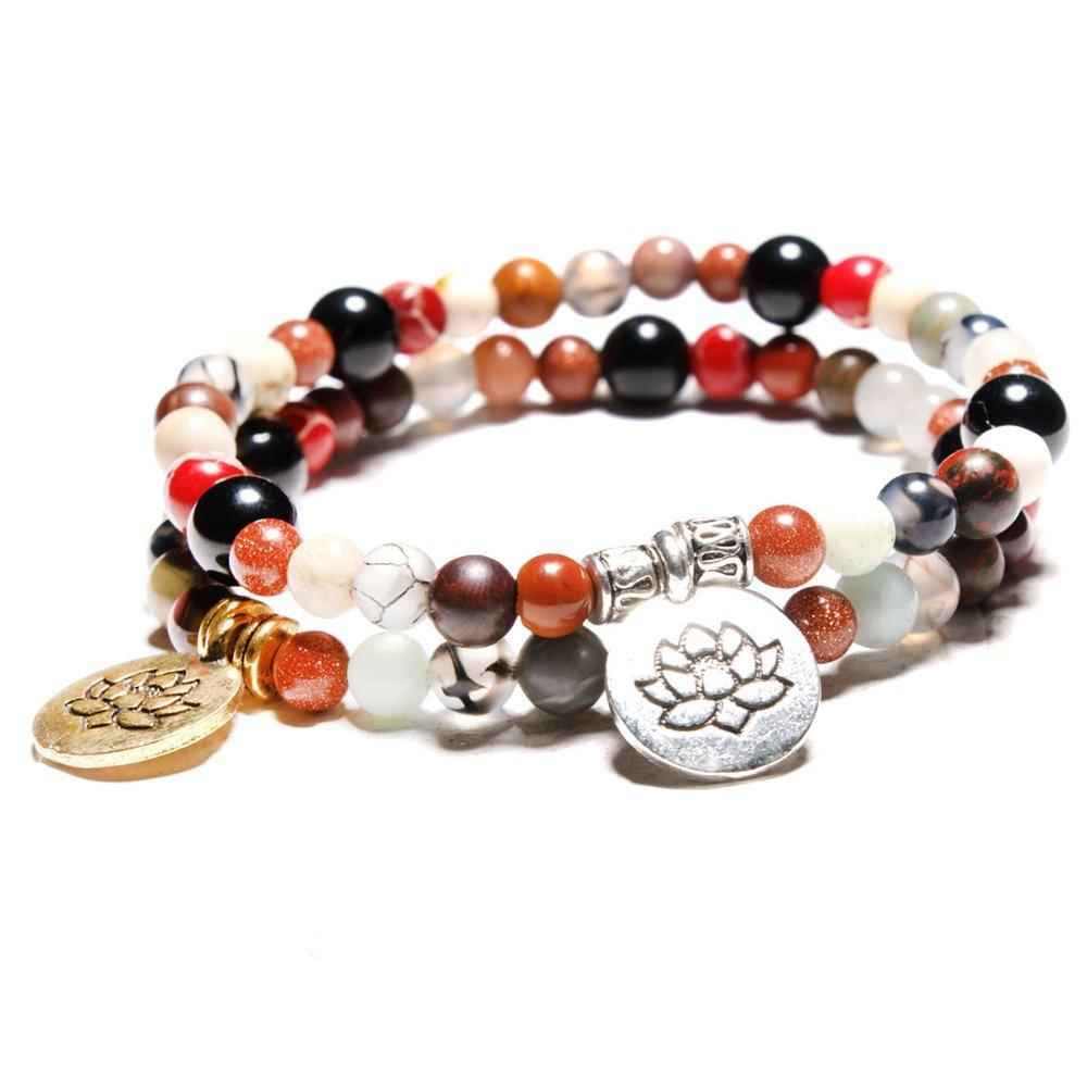Vintage Silver Gold Lotus Charm Buddha Beads Bracelets Handmade Cuff Wristband for Men Women