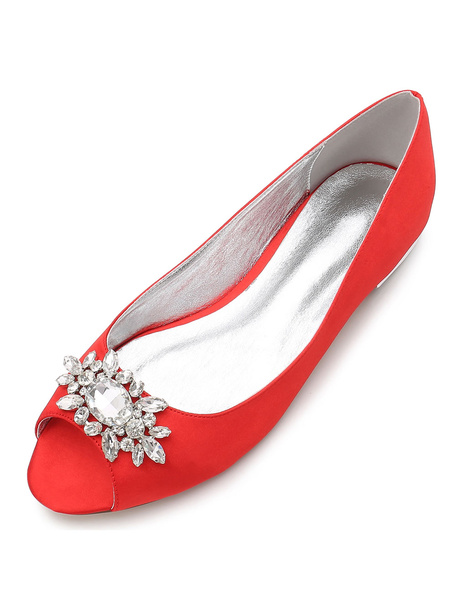 Milanoo Mother Of Bride Shoes Peep Toe Rhinestones Wedding Guest Flat Shoes