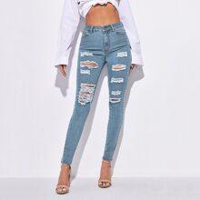 Skinny Jeans mit hoher Dehnung und Riss