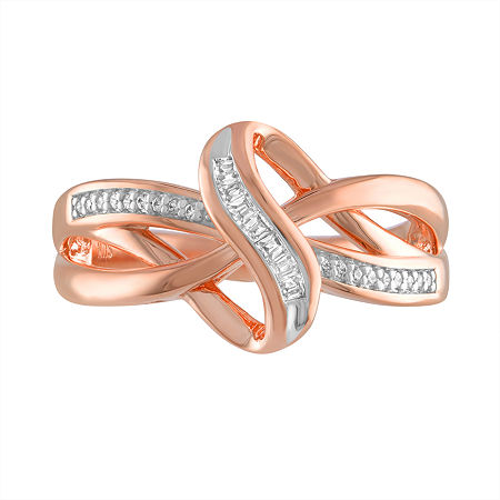 Womens 1/10 CT. T.W. Genuine White Diamond 14K Rose Gold over Silver Ring, 7 , No Color Family