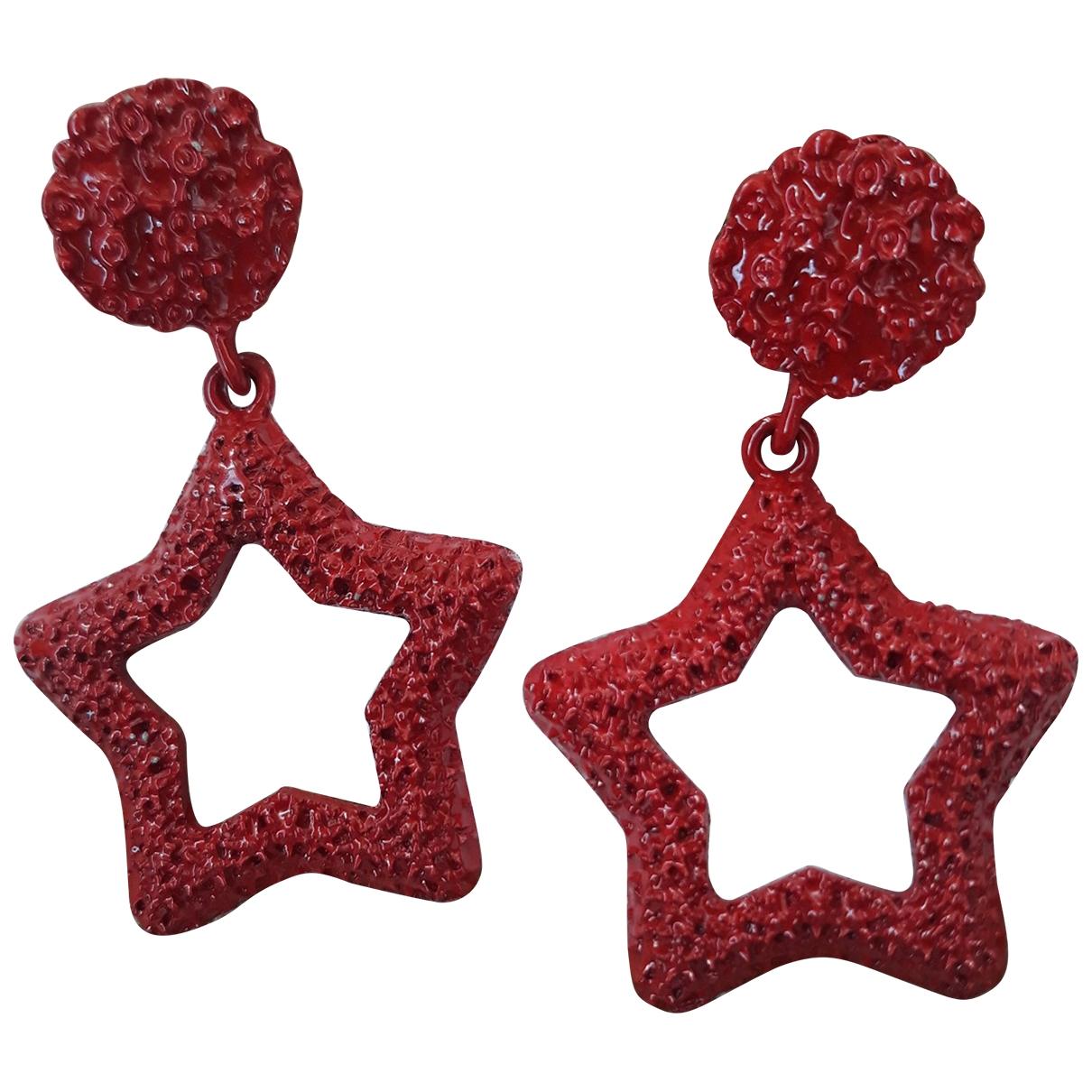 - Boucles doreilles Motifs Etoiles pour femme en metal - rouge