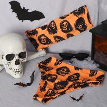 Bandeau Bikini Badeanzug mit Halloween Schaedel Muster und hoher Taille