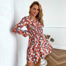 Shirred Waist Allover Floral Print Dress
