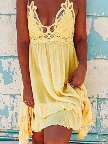 Milanoo Shift Dresses Lace Patch Short Slip Dress