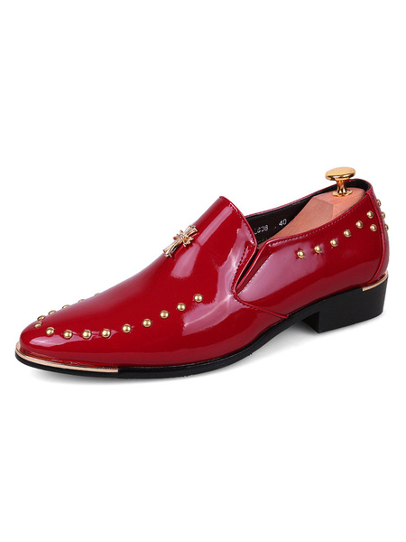 Milanoo Black Dress Shoes Round Toe Beaded Slip On Shoes Men Loafers