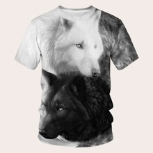 Maenner T-Shirt mit Wolf Muster
