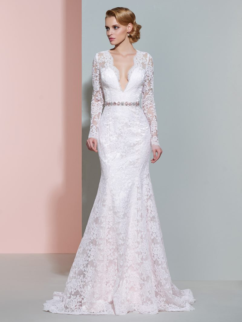 Ericdress V Neck Long Sleeves Mermaid Lace Wedding Dress