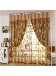 European Style Golden Floral Pattern Carving Sheer and Solid Lining Room Curtain Sets
