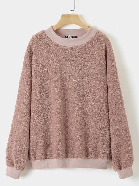 Yoins Plus Size Pink Round Neck Sweatshirt