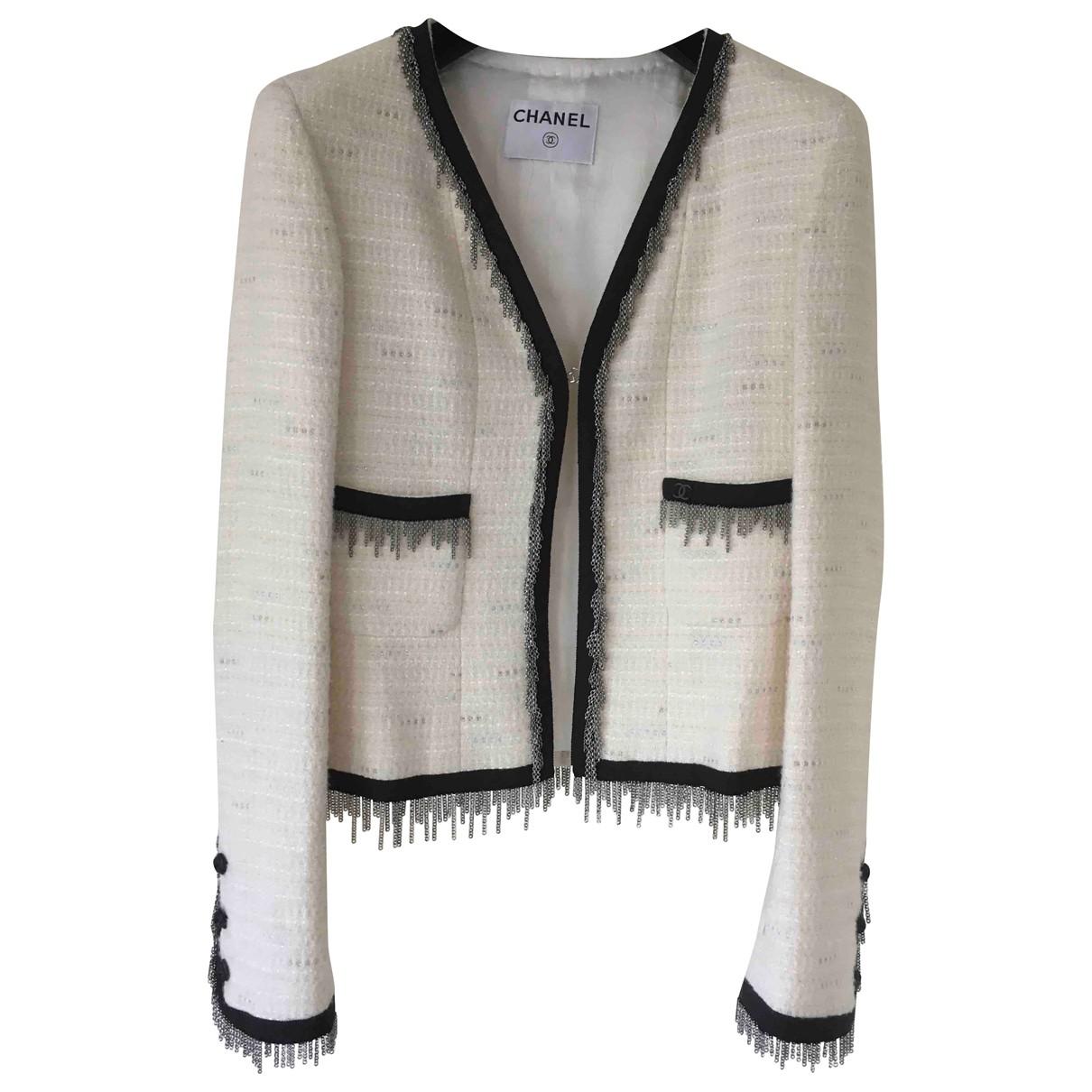 Chanel - Veste   pour femme en laine - ecru