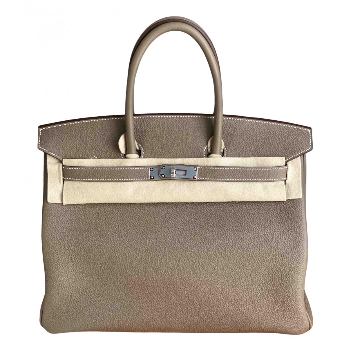 Hermes - Sac a main Birkin 35 pour femme en cuir - beige