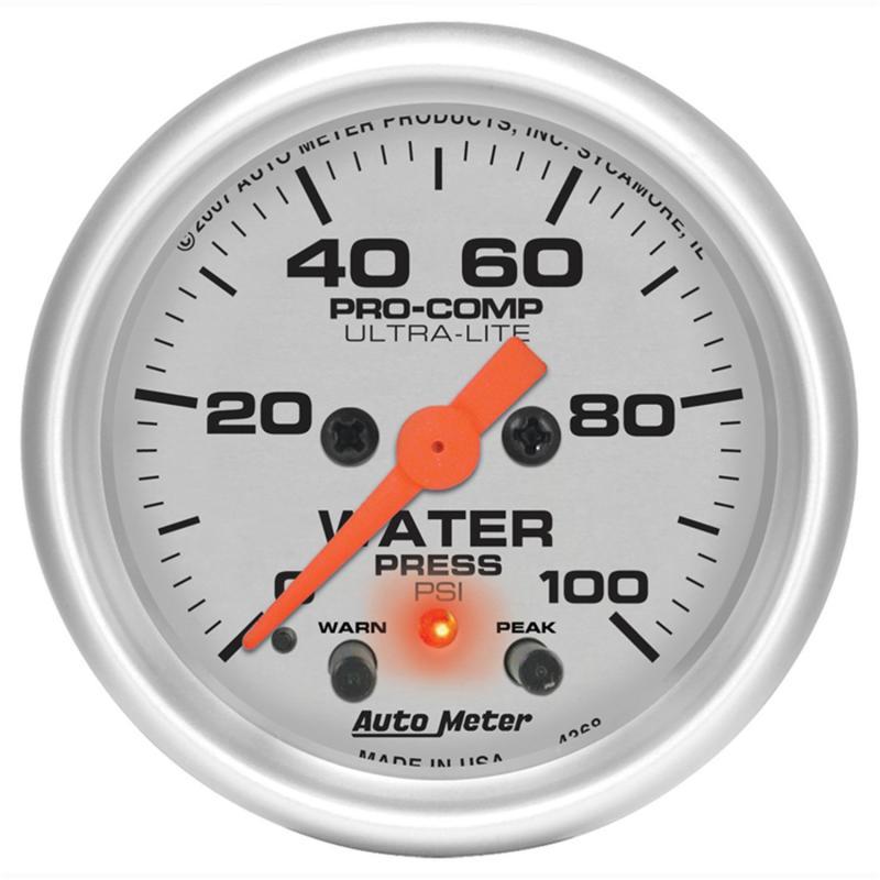 AutoMeter GAUGE; WATER PRESS; 2 1/16in.; 100PSI; STEPPER MOTOR W/PEAK/WARN; ULTRA-LITE