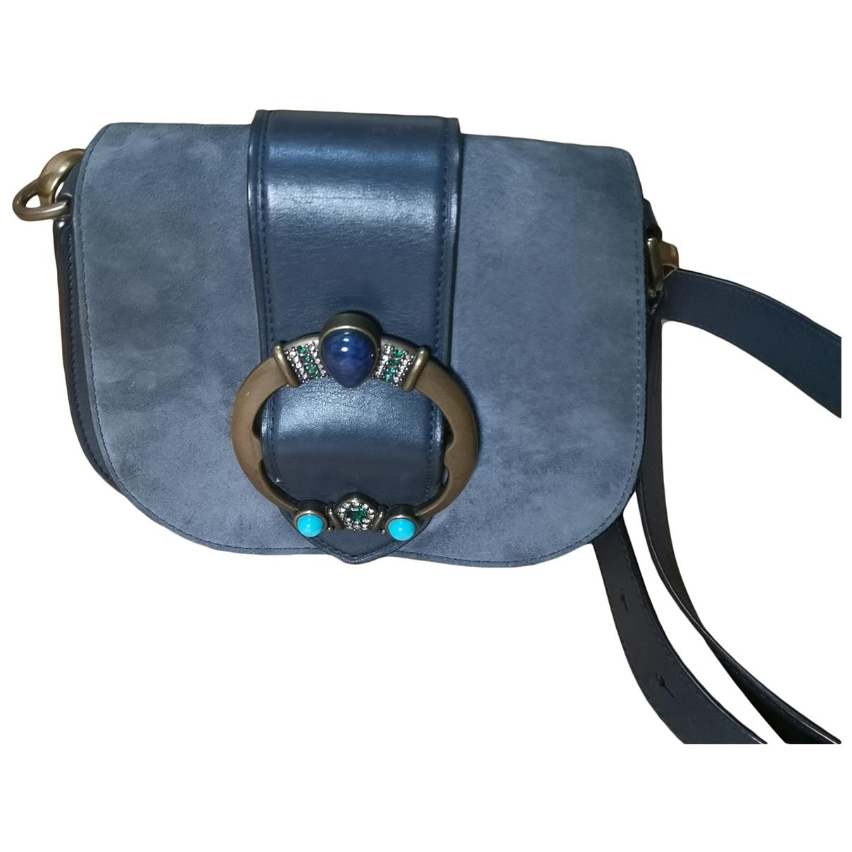 Non Signe / Unsigned \N Handtasche in  Blau Veloursleder