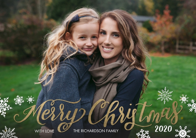 Christmas Photo Cards 5x7 Cards, Standard Cardstock 85lb, Card & Stationery -Christmas 2020 Snowflakes by Tumbalina