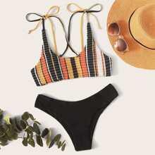 Striped Smocked Tie Shoulder Bikini Swimsuit