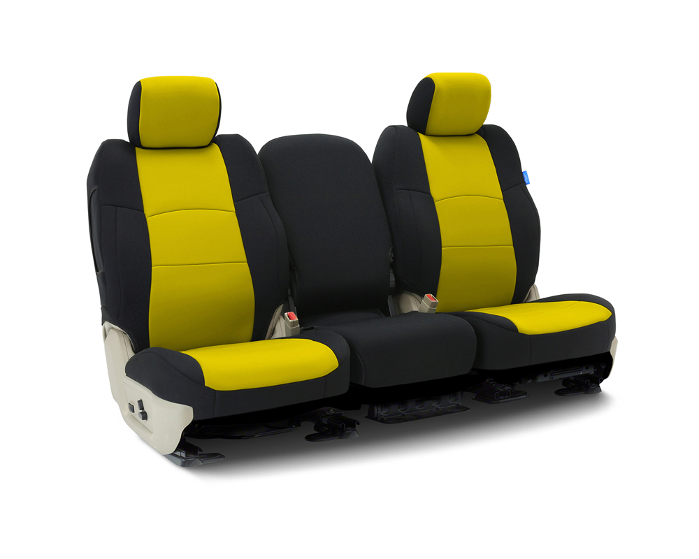 Coverking CSCF5FD7110 Custom Seat Covers 1 Row Neoprene Yellow   Black Sides Front Ford F-150 2004