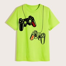Neon gruenes T-Shirt mit Spielkonsole Muster