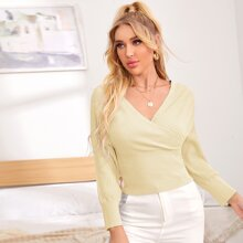 Surplice Neck Batwing Sleeve Ribbed Knit Sweater