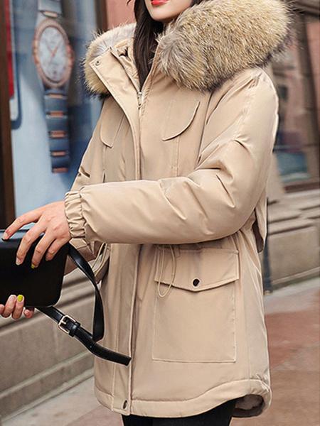 Milanoo Collar Puffer abrigos rosa con capucha de la cremallera de manga larga de piel de las mujeres Prendas de abrigo