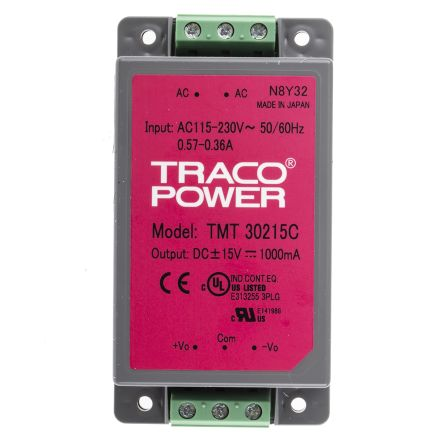 TRACOPOWER , 30W Embedded Switch Mode Power Supply SMPS, ±15V dc, Encapsulated, Medical Approved