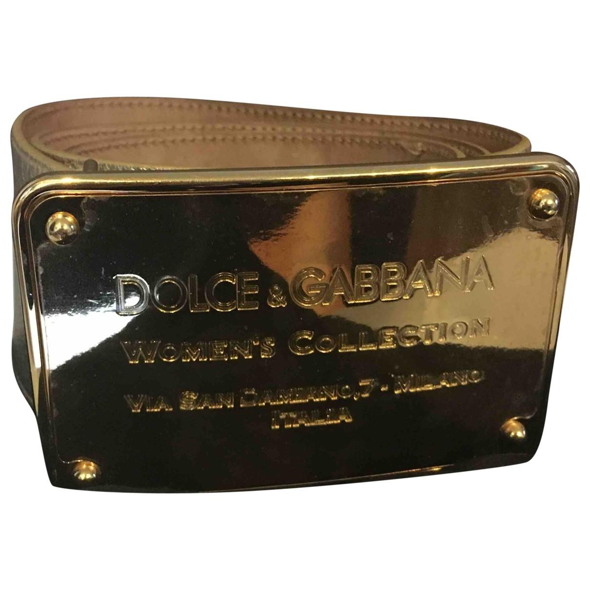 Dolce & Gabbana - Ceinture   pour femme en cuir - dore