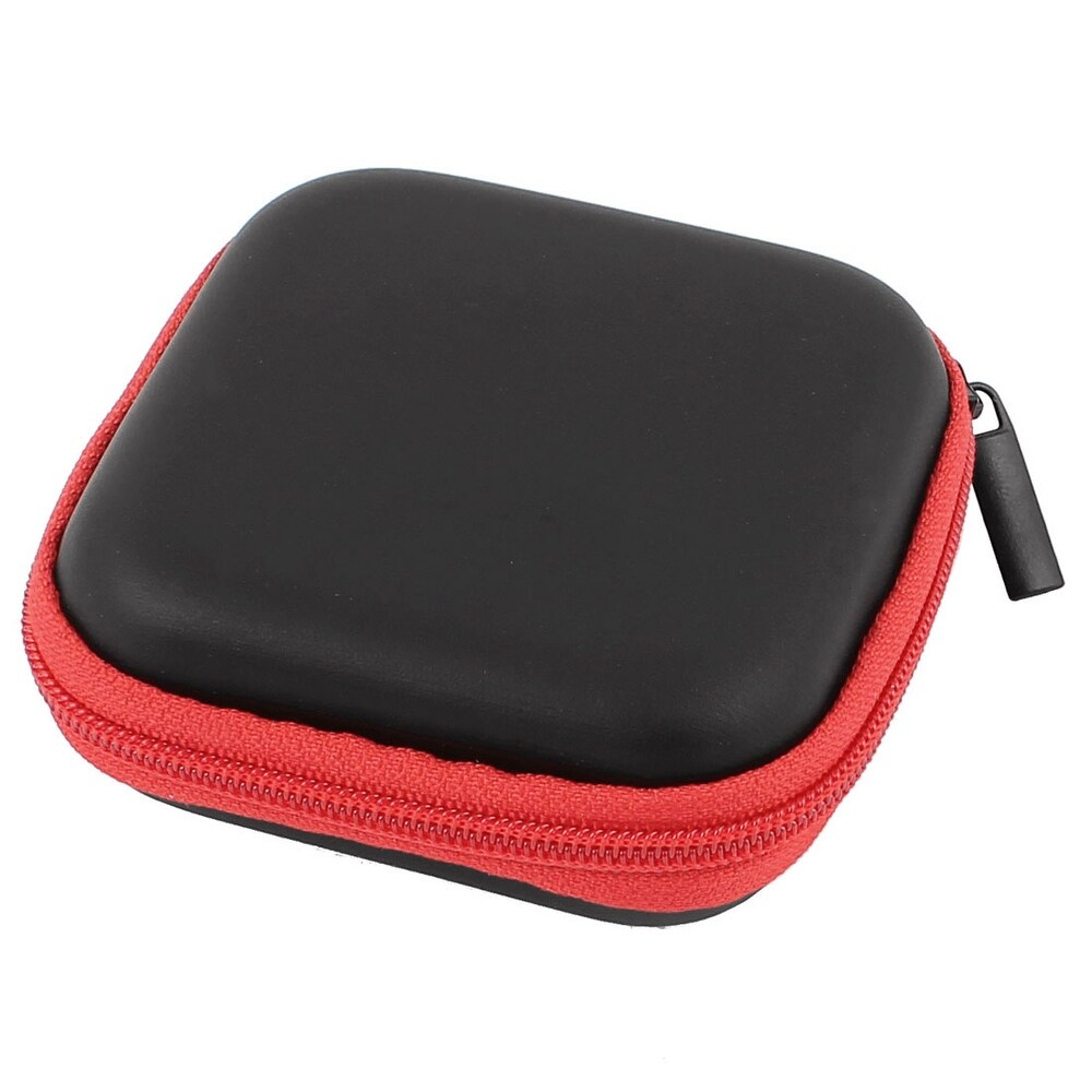 Earphone Cellphone Headphone Headset Earbuds Carrying Case Pouch Storage Red (Red)