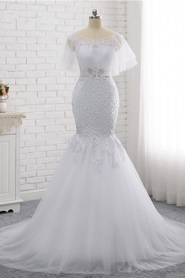 BMbridal Elegant Jewel Sleeveless White Tulle Wedding Dress Mermaid Lace Beading Bridal Gowns On Sale