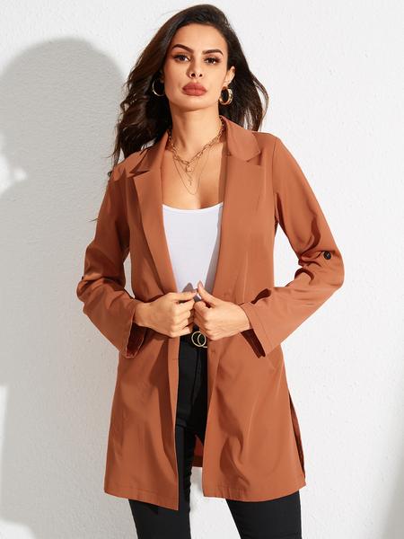 YOINS Yellow Plain Lapel Collar Long Sleeves Pocket Design  Coat