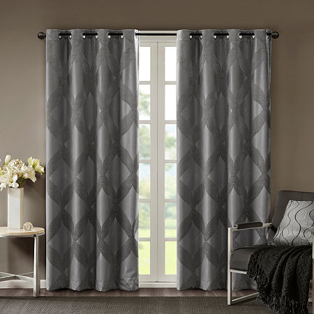Sunsmart Abel Jacquard 100% Blackout Grommet-Top Single Curtain Panel, One Size , Black