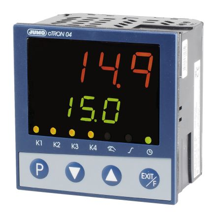 Jumo cTRON PID Temperature Controller, 96 x 96 (1/4 DIN)mm 1 (Analogue) Input, 3 Output Logic, Relay, 110 → 240